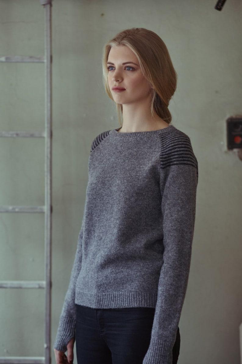 Wool jumper Handmade wool sweater Natural grey wool sweater